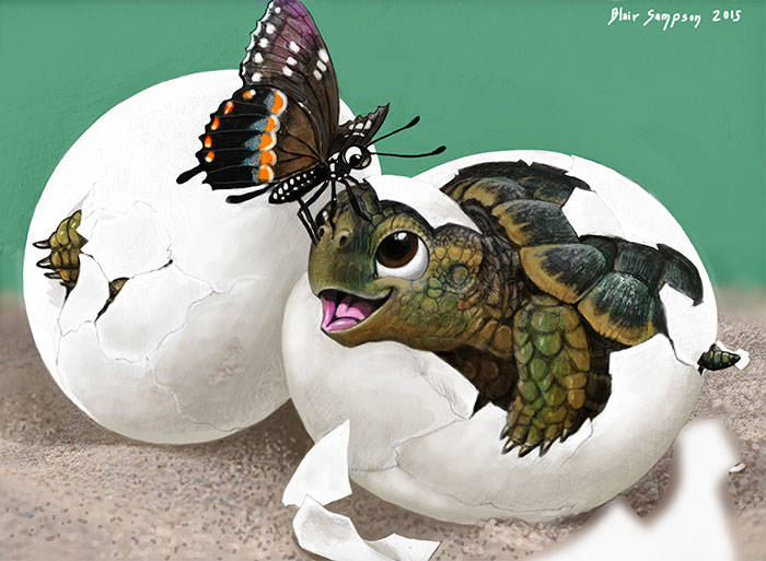 my_dad_s_b_day_card_baby_turtles_and_butterfly_by_psithyrus-d9bo4csaaaaa
