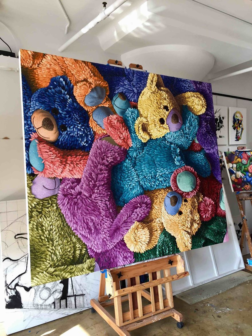 colorful-textured-teddy-bear-painting-colorwheel-brent-estabrook-583f12533fc28__880