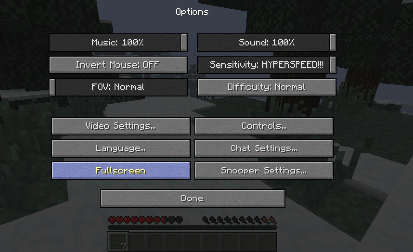 Как Майнкрафт сделать на весь экран