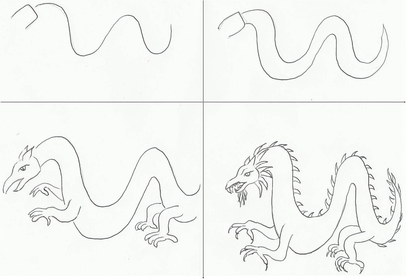 Как рисовать дракона на открытку, днем