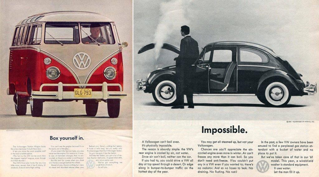 реклама volkswagen 1950